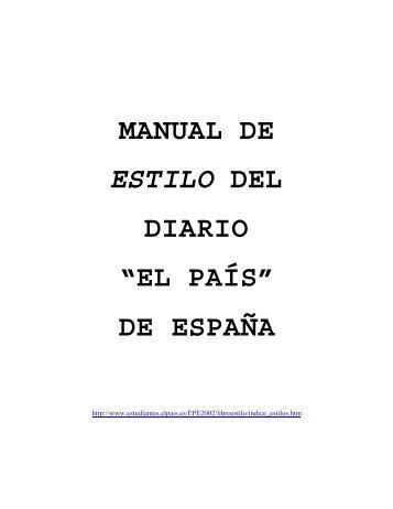 """MANUAL DE ESTILO DEL DIARIO """"EL PAÍS"""" DE ESPAÑA"""