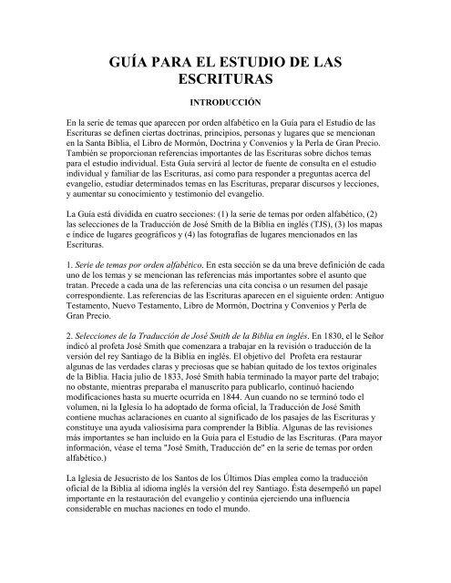 Guía Para El Estudio De Las Escrituras Portal De Historia