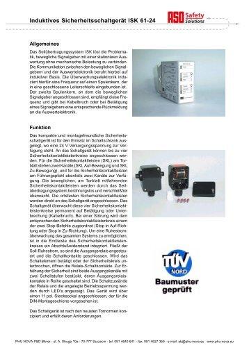 Induktives Sicherheitsschaltgerät ISK 61-24 - Nova