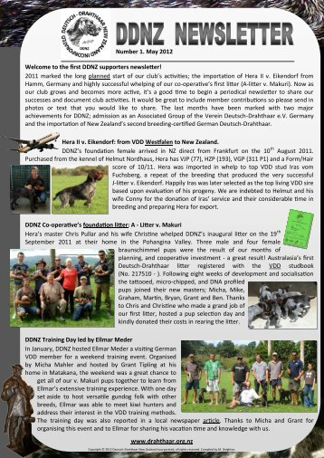 Number 1. May 2012 Welcome to the first DDNZ supporters newsletter!