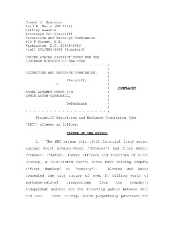 SEC Complaint in this matter - Securities and Exchange Commission