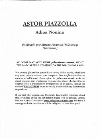 ASTOR PIAZZOLLA - Johnstone-music.com
