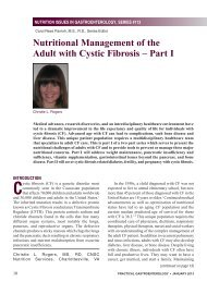 Nutritional Management of the Adult with Cystic Fibrosis – Part I