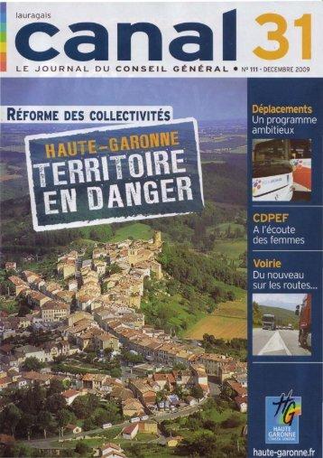 Revue CANAL31 numéro 111 de Décembre 2009 - Auragne