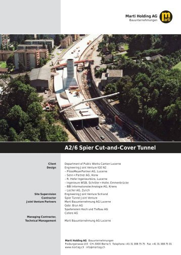 A2/6 Spier Cut-and-Cover Tunnel - Marti Holding AG