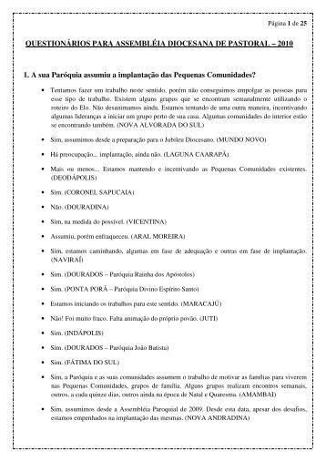 QUESTIONÁRIOS PARA ASSEMBLÉIA DIOCESANA DE PASTORAL
