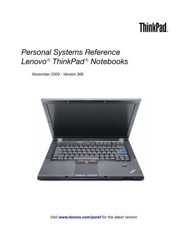 Personal Systems Reference Lenovo ThinkPad Notebooks