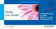May 03 - 16, 2012 Einladung / Messethemen - ACTEGA