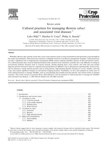 Cultural practices for managing Bemisia tabaci and associated viral ...