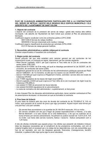 Plec de clàusules administratives - Ajuntament de Sant Celoni