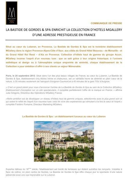 La Bastide de Gordes and Spa enrichit la - Accor