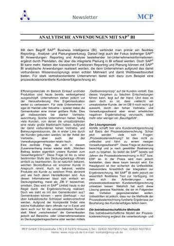 BI Analytische Anwendungen - Management Consulting Partner