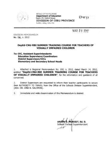 Memo No. 184, S. 2012 - DepEd Cebu Province