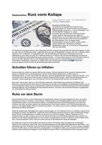 Staatsanleihen Kurz vorm Kollaps