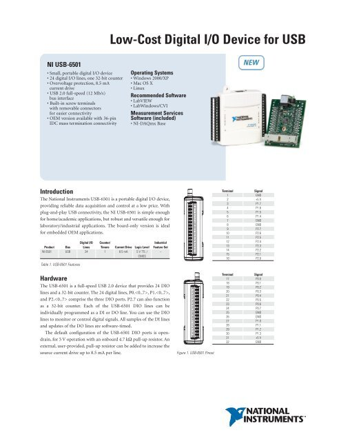 National Instruments USB-6501-OEM Data Acquisition Card NI DAQ DIO