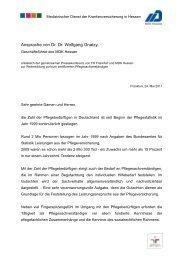 Ansprache von Dr. Dr. Wolfgang Gnatzy, - MDK-Hessen