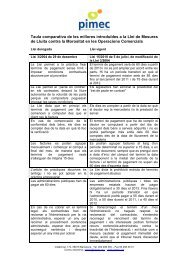 Taula comparativa de les millores introduïdes a la Llei de ... - Pimec