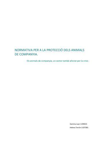 normativa per a la protecció dels animals de companyia.