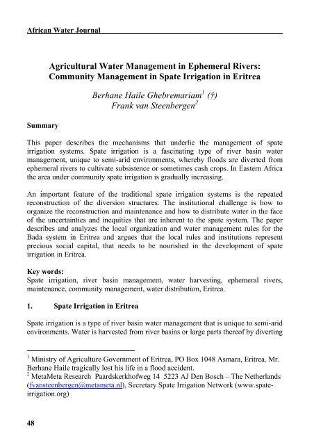 Agricultural Water Management in Ephemeral Rivers ... - MetaMeta