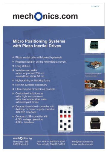 MS 30 Miniature Translation Stages with piezo ... - mechOnics ag
