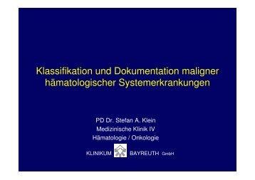 Klassifikation und Dokumentation maligner hämatologischer ...