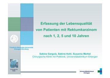 Erfassung der Lebensqualität von Patienten mit Rektumkarzinom ...