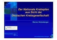 Der Nationale Krebsplan aus Sicht der Deutschen Krebsgesellschaft