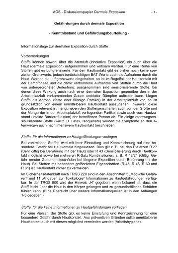 AGS - Diskussionspapier Dermale Exposition ... - abekra