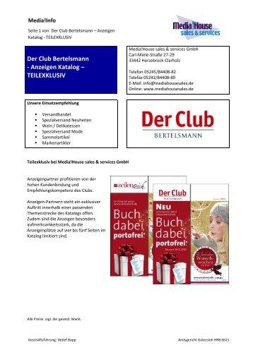 Info Katalog Anzeigen Der Club Bertelsmann 2013 - Media!House ...