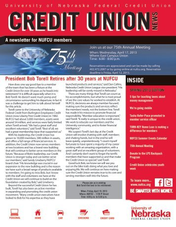Spring 2013 Newsletter - University of Nebraska Federal Credit Union