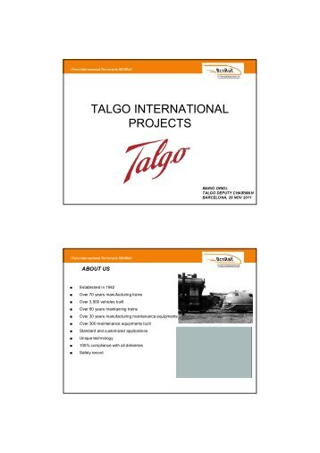 TALGO INTERNATIONAL PROJECTS - Fira Barcelona