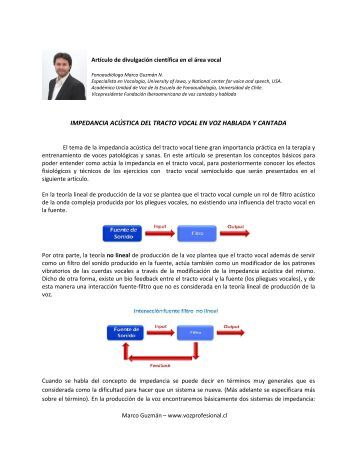 IMPEDANCIA ACÚSTICA DEL TRACTO VOCAL ... - Voz Profesional