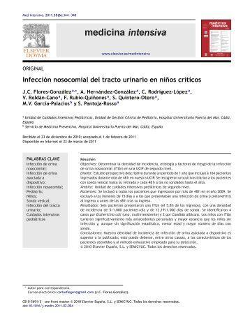 Infección nosocomial del tracto urinario en ni˜nos ... - SciELO España