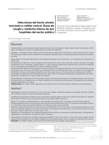 Infecciones del tracto urinario asociado a catéter vesical. Áreas de ...