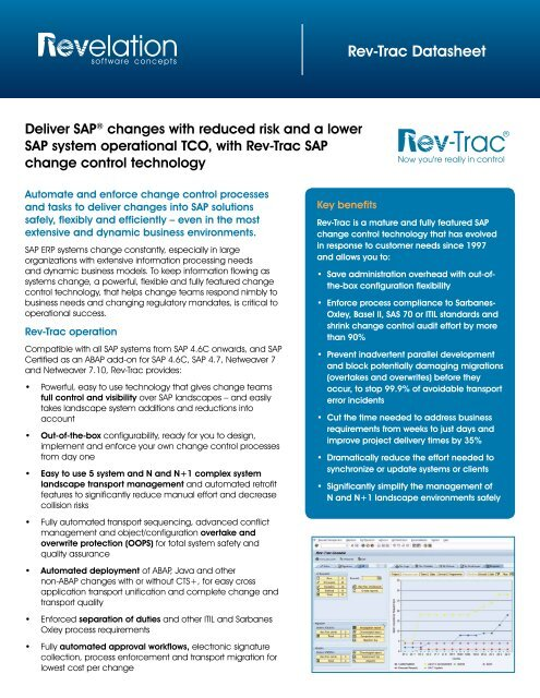 Rev-Trac Datasheet - Revelation Software Concepts