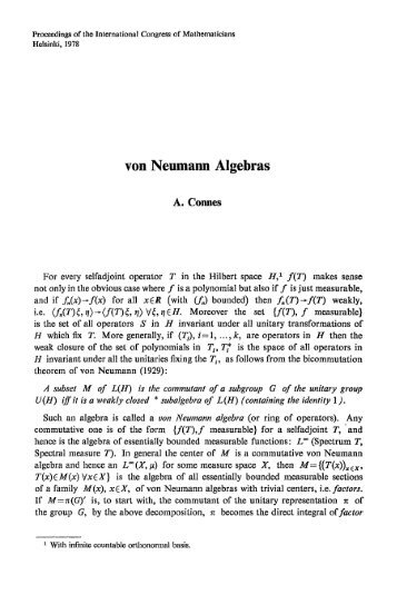 von Neumann Algebras - International Mathematical Union
