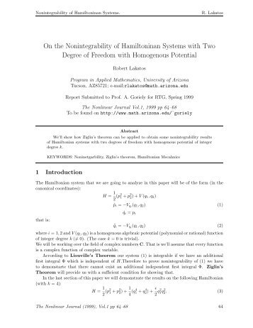 On the Nonintegrability of Hamiltoninan Systems with Two Degree of ...