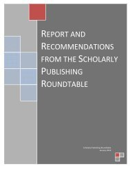 report and recommendations from the scholarly publishing roundtable