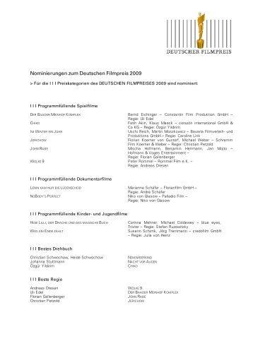 Nominierungen zum Deutschen Filmpreis 2009 - Medienboard ...