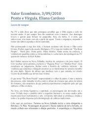 Ponto e Vírgula, Valor Econômico - Eliana Cardoso