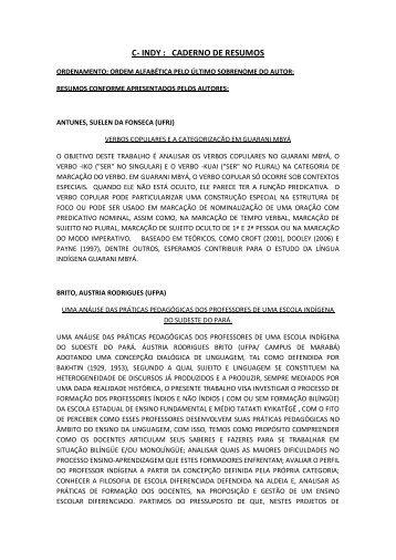 C- INDY : CADERNO DE RESUMOS - Uesb