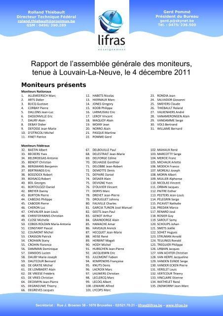 2011 Pv Ag Moniteurs Enseignement Lifras