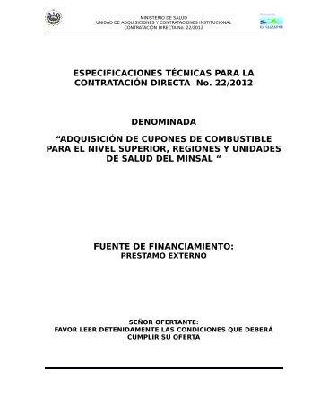 ESPECIFICACIONES TÉCNICAS PARA LA CONTRATACIÓN ...