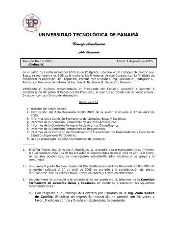 UNIVERSIDAD TECNOLÓGICA DE PANAMÁ Consejo Académico