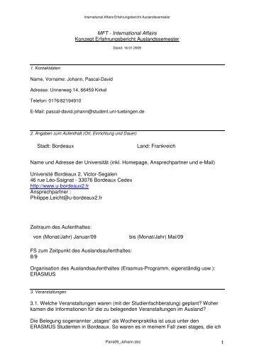 International Affairs Konzept Erfahrungsbericht Auslandssemester ...
