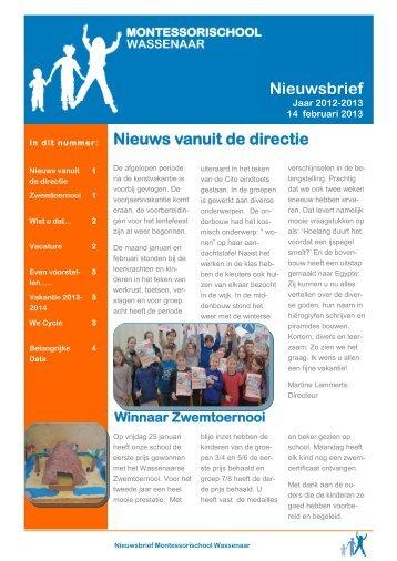 Nieuws vanuit de directie Nieuwsbrief - Montessorischool Wassenaar