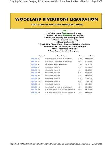 Page 1 of 2 Gray Rapids Lumber Company Ltd. - Liquidation Sale ...