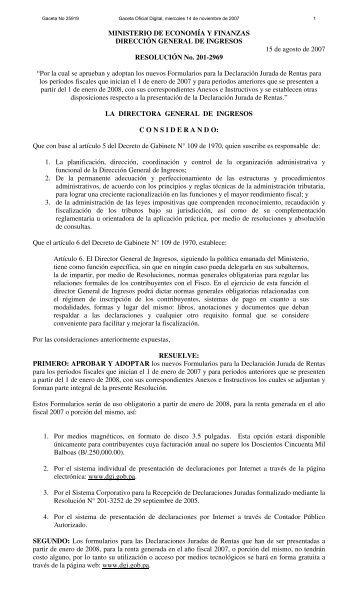 Resolución N 201-2969. Formularios para la Declaración Jurada de ...