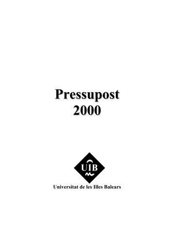 Resum del Pressupost 2000 - Universitat de les Illes Balears