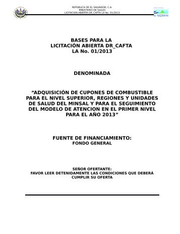 BASES DE LICITACION ABIERTA DR-CAFTA LA No - Ministerio de ...